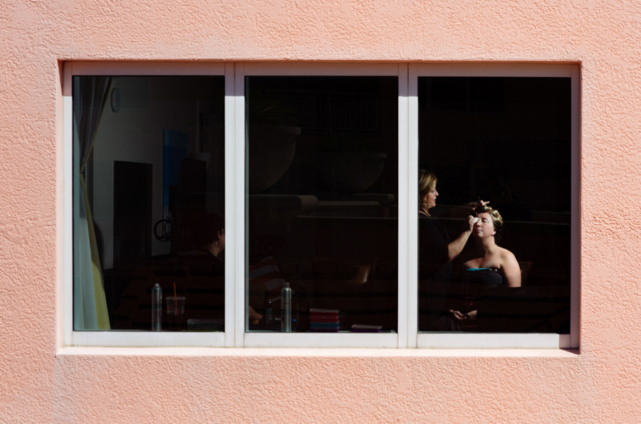 Bride Getting Makeup Done on Wedding Day Portrait