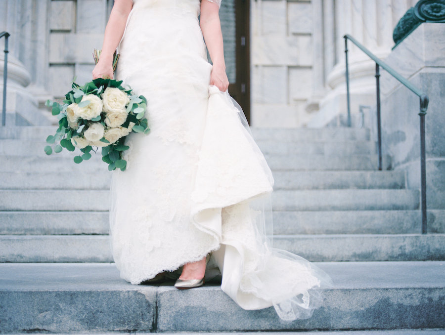 Ivory Lace Morilee Madeline Gardner Wedding Dress with Gold Shoes and Bouquet with Eucalyptus Leaves and Ivory Peonies