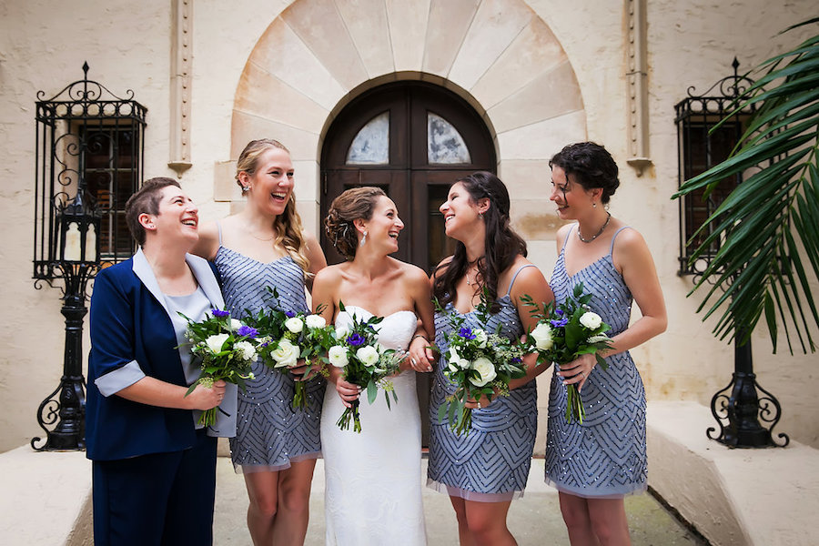 Powel Crosley Estate Bride with Bridesmaids in Light Blue Adrianna Papell Bridesmaid Dresses   Tampa Bay Wedding Photographer Limelight Photography