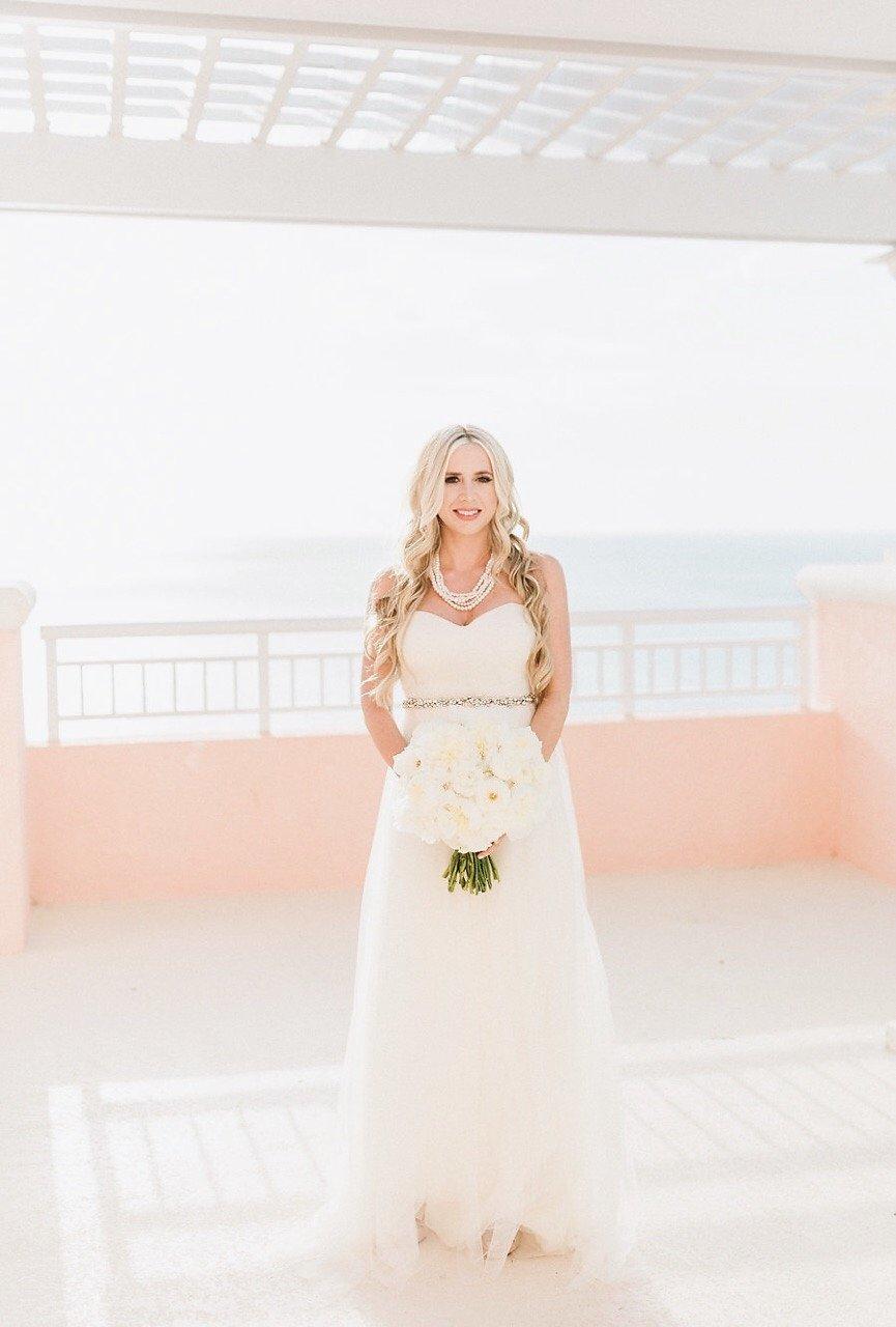 Bridal Wedding Portrait with White Wedding Bouquet   Tampa Bay Hotel Wedding Venue Hyatt Clearwater Beach Regency