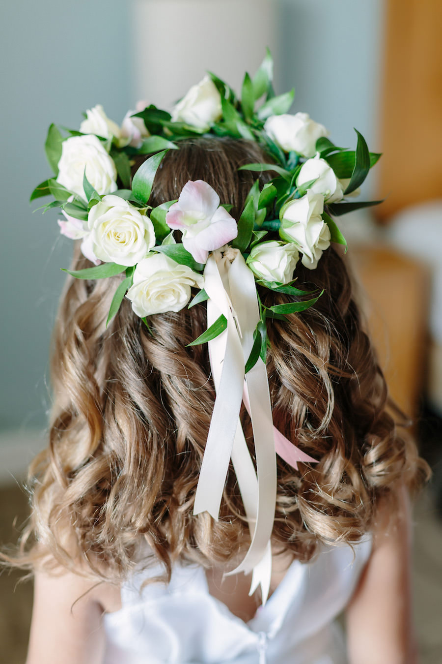 Ivory Rose Floral Crown for Flower Girl at Destination Clearwater Beach Florida Wedding