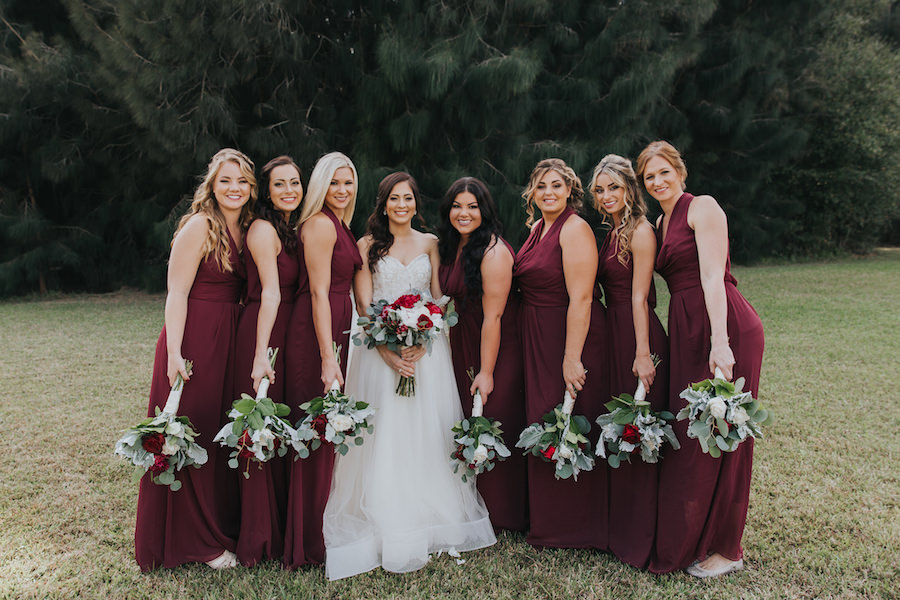 Burgundy Bridesmaid Dresses With White And Red Wedding Bouquets