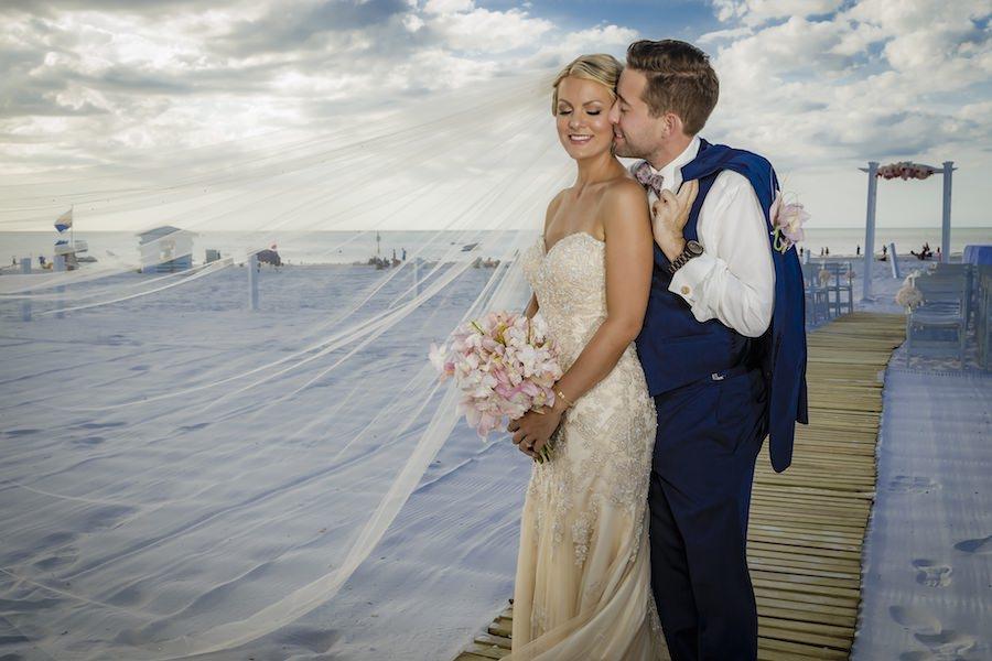 Outdoor, Tampa Bay Beach Bride and Groom Wedding Portrait   Outdoor Waterfront Hotel Wedding Venue Hilton Clearwater Beach