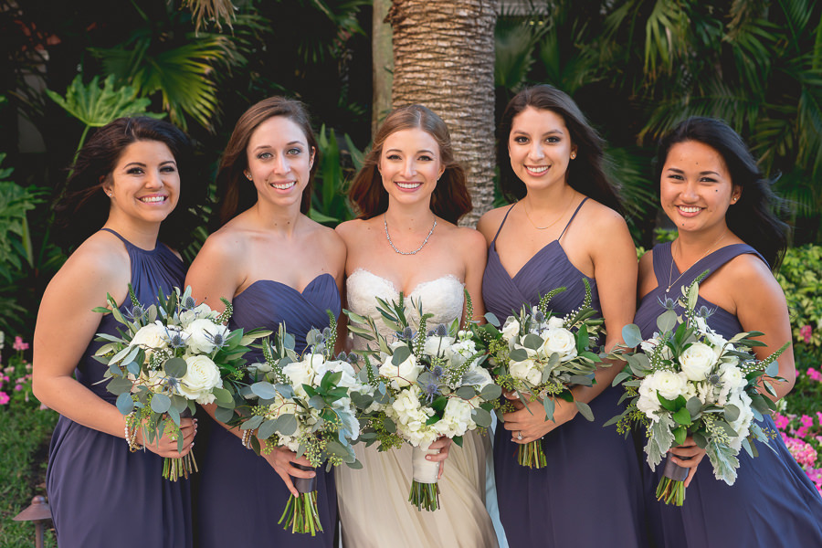 7a2c700a9bcdd9 Dark Blue Azazie Bridesmaids Dress with Ivory Bouquet of Flowers with  Greenery | St. Petersburg Wedding Hair and Makeup Michele Renee The Studio