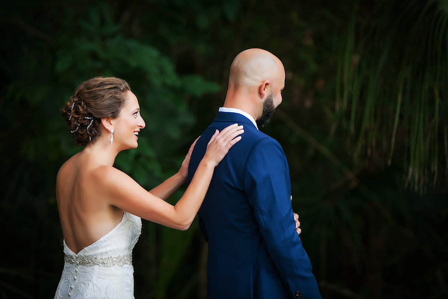 Sarasota Bride and Groom First Look Wedding Portrait   Tampa Bay Photographer Limelight Photography
