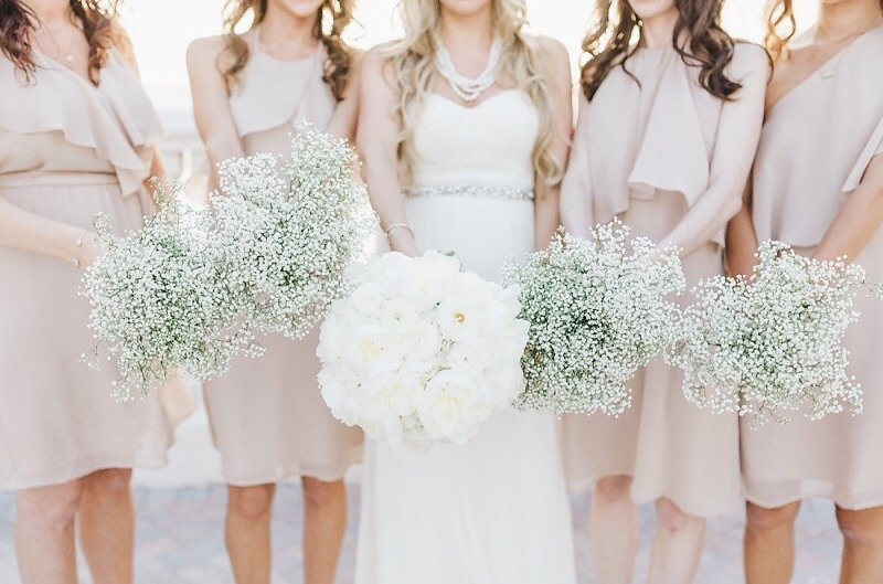 Bridal Party Wedding Portrait with White Wedding Bouquet and Pastel Nude Taupe Bridesmaids Dresses with Baby's Breath   Tampa Bay Hotel Wedding Venue Hyatt Clearwater Beach Regency
