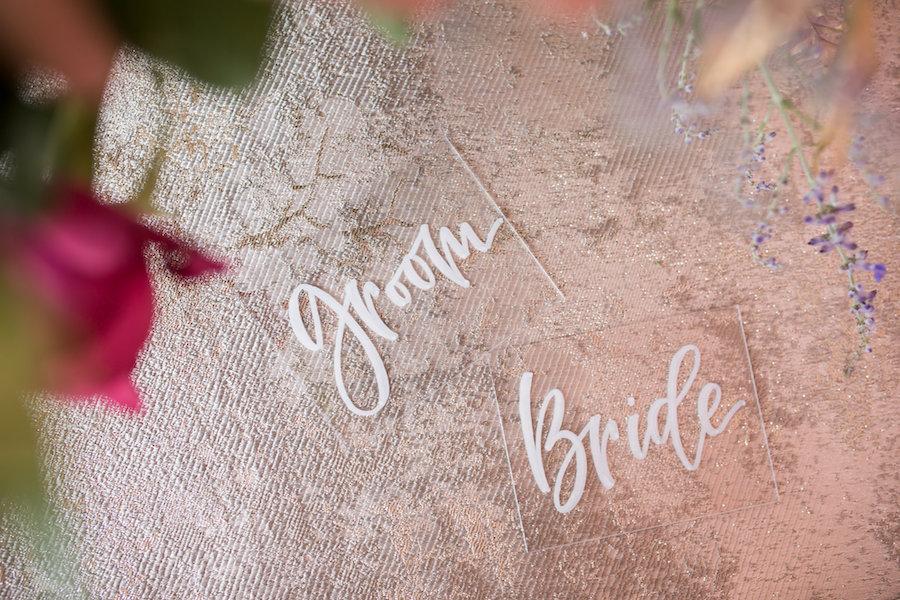 Acyclic Groom and Bride Wedding Signs