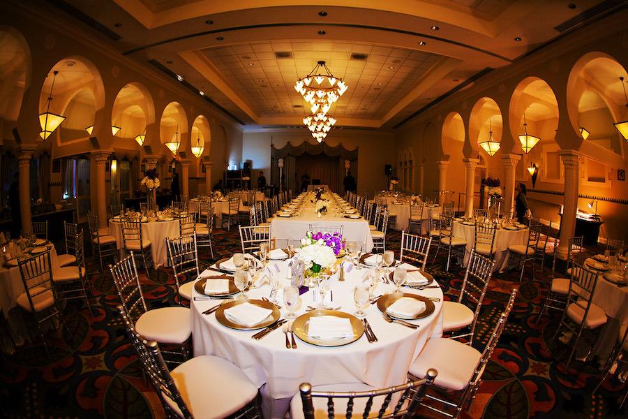 Indoor, Ballroom Wedding Reception Decor with Gold Chiavari Chairs and Ivory Centerpieces | Historic St. Petersburg Wedding Venue The Renaissance Vinoy