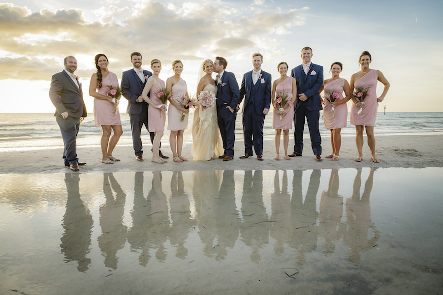 Outdoor, Tampa Bay Waterfront Bridal Party Wedding Portrait with Bridesmaids in Blush Pink One Shoulder Wedding Dresses   Outdoor Waterfront Hotel Wedding Venue Hilton Clearwater Beach