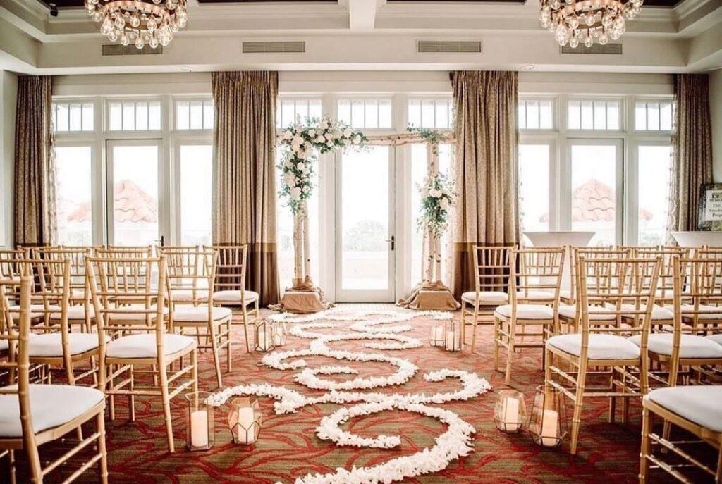 Romantic Wedding Ceremony with Rose Petal Aisle | Downtown St. Petersburg Wedding Ceremony The Birchwood