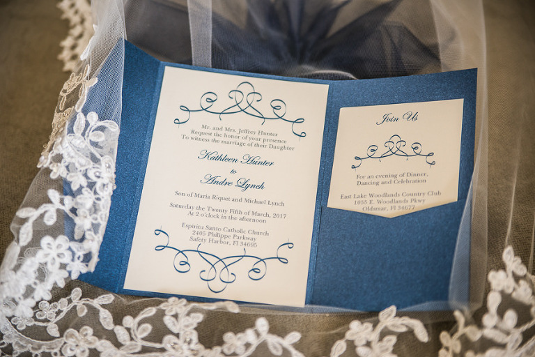 White and Blue Wedding Invitation Suite on Wedding Veil Portrait