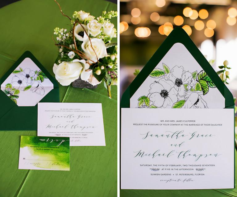 Greenery Inspired Floral Wedding Invitations with Envelope Liner | Tampa Bay Letterpress Stationery Designer A&P Design Co