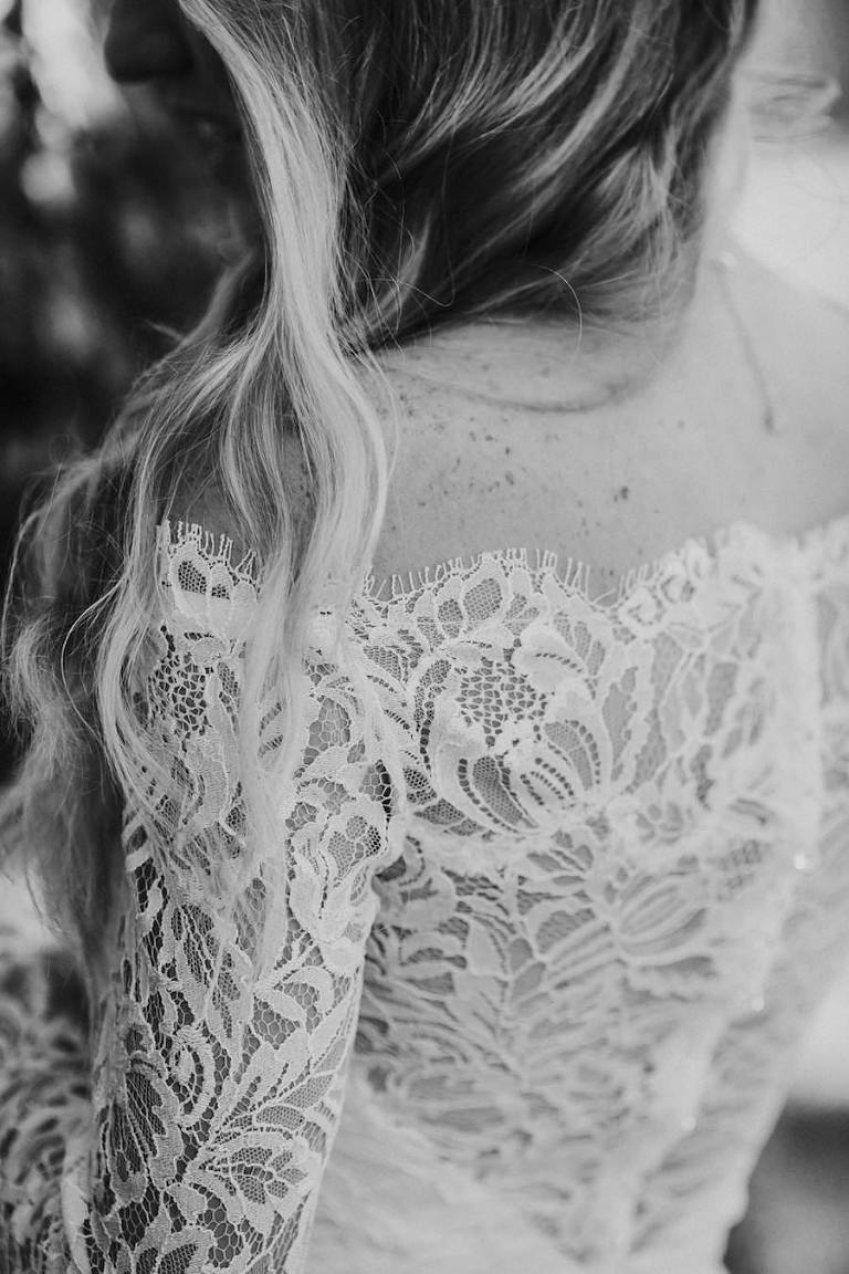 Lace Off the Shoulder Ivory Wedding Dress