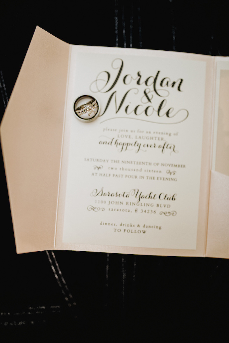 Blush and White Wedding Invitation with Black Calligraphy and Diamond Engagement Ring and Wedding Bands | Tampa Bay Wedding Planner NK Productions