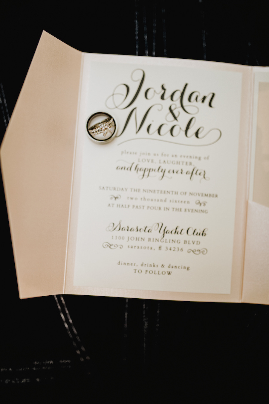 Blush and White Wedding Invitation with Black Calligraphy and Diamond Engagement Ring and Wedding Bands   Tampa Bay Wedding Planner NK Productions