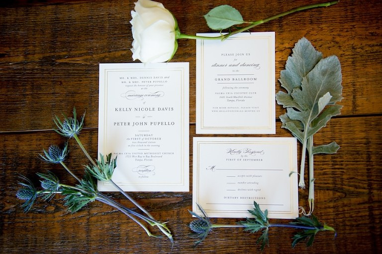 Traditional and Elegant Ivory and Gold Wedding Invitation Suite with Dusty Miller Greenery   Tampa Bay Wedding Photographer Andi Diamond Photography