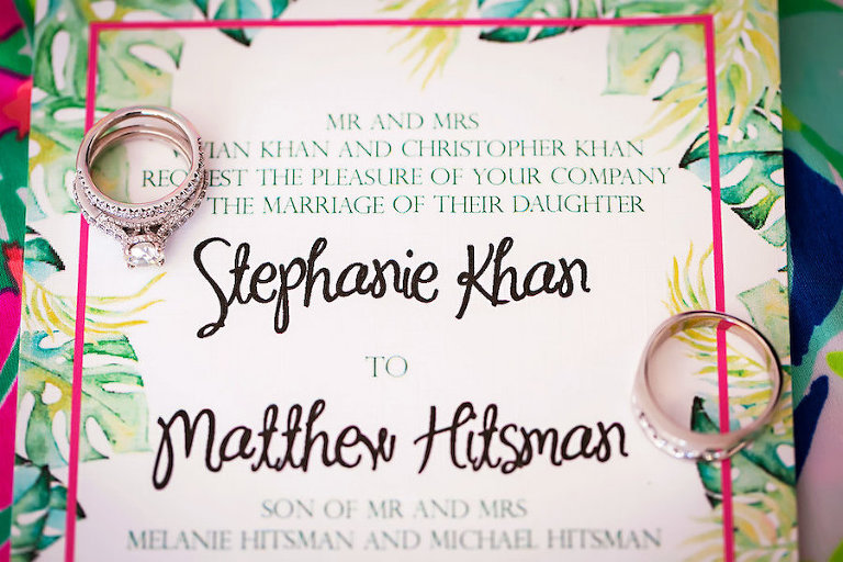 Tropical Wedding Invitation with Palm Accents and Pink and Green Detail | Sarasota Wedding Photographer Limelight Photography