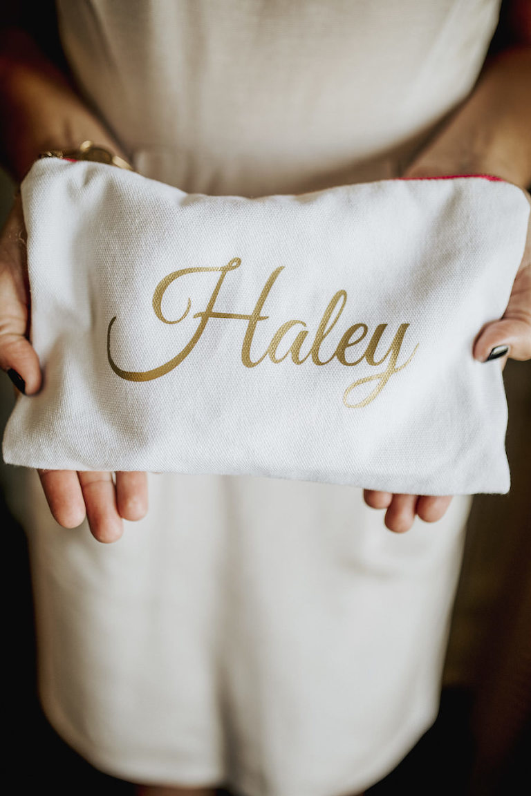 Personalized Gold and Ivory Make Up Bag Bridesmaid Gift