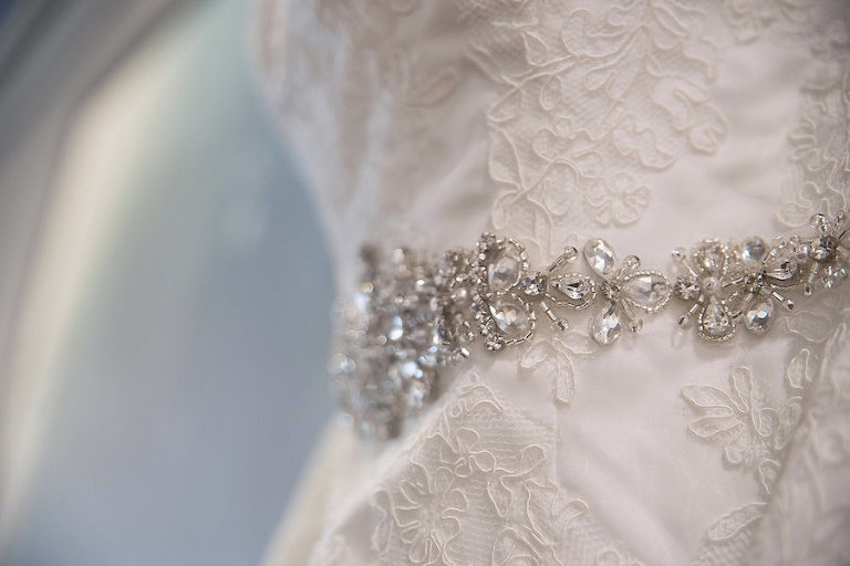 Ivory Lace Wedding Dress with Rhinestone Belt
