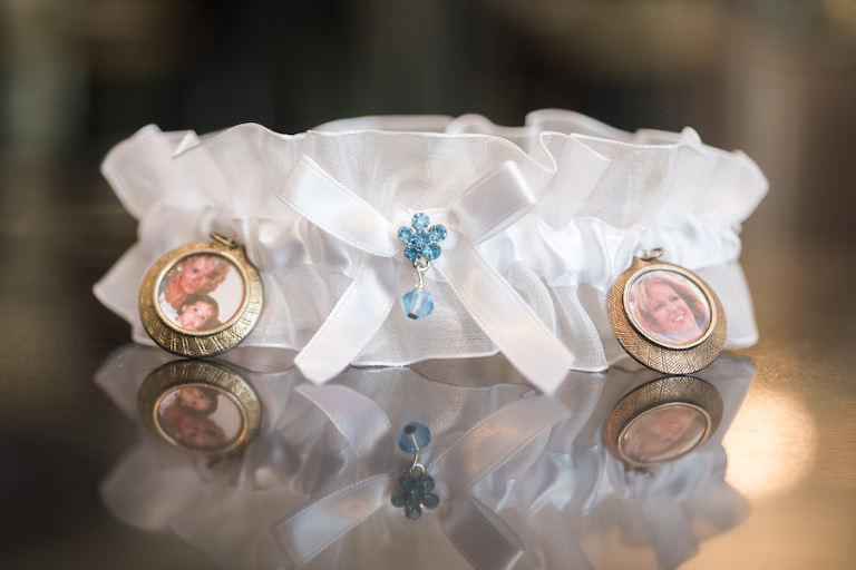 White Wedding Garter with Blue Rhinestones and Small Photo Pendants