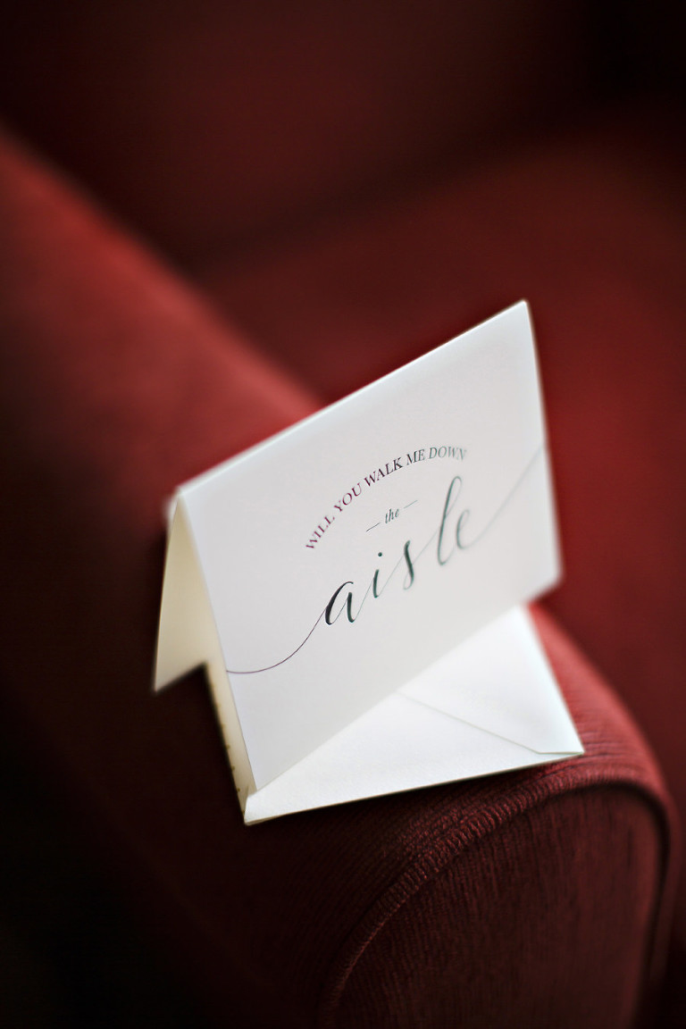 White Wedding Card With Black Script For Father of Bride