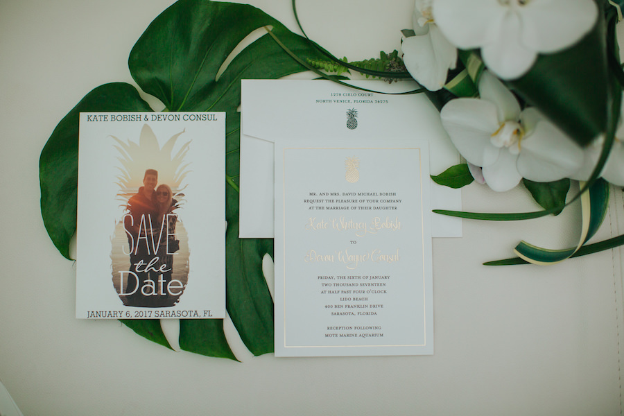 White Gold and Green Photo Save the Date and Wedding Invitation With Pineapple Accents
