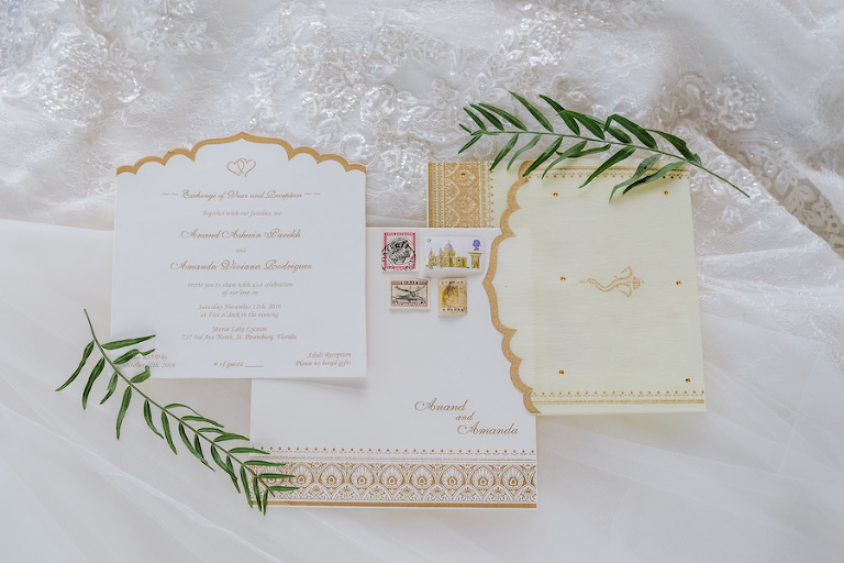 Traditional and Modern Bespoke Gold and Ivory Indian Wedding Invitation Suite by Parekh Cards