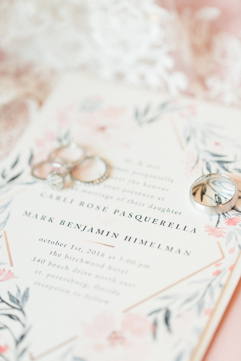 Ivory, Blush and Navy Blue Floral Wedding Invitation | Tampa Bay Wedding Photographer Ailyn La Torre Photography