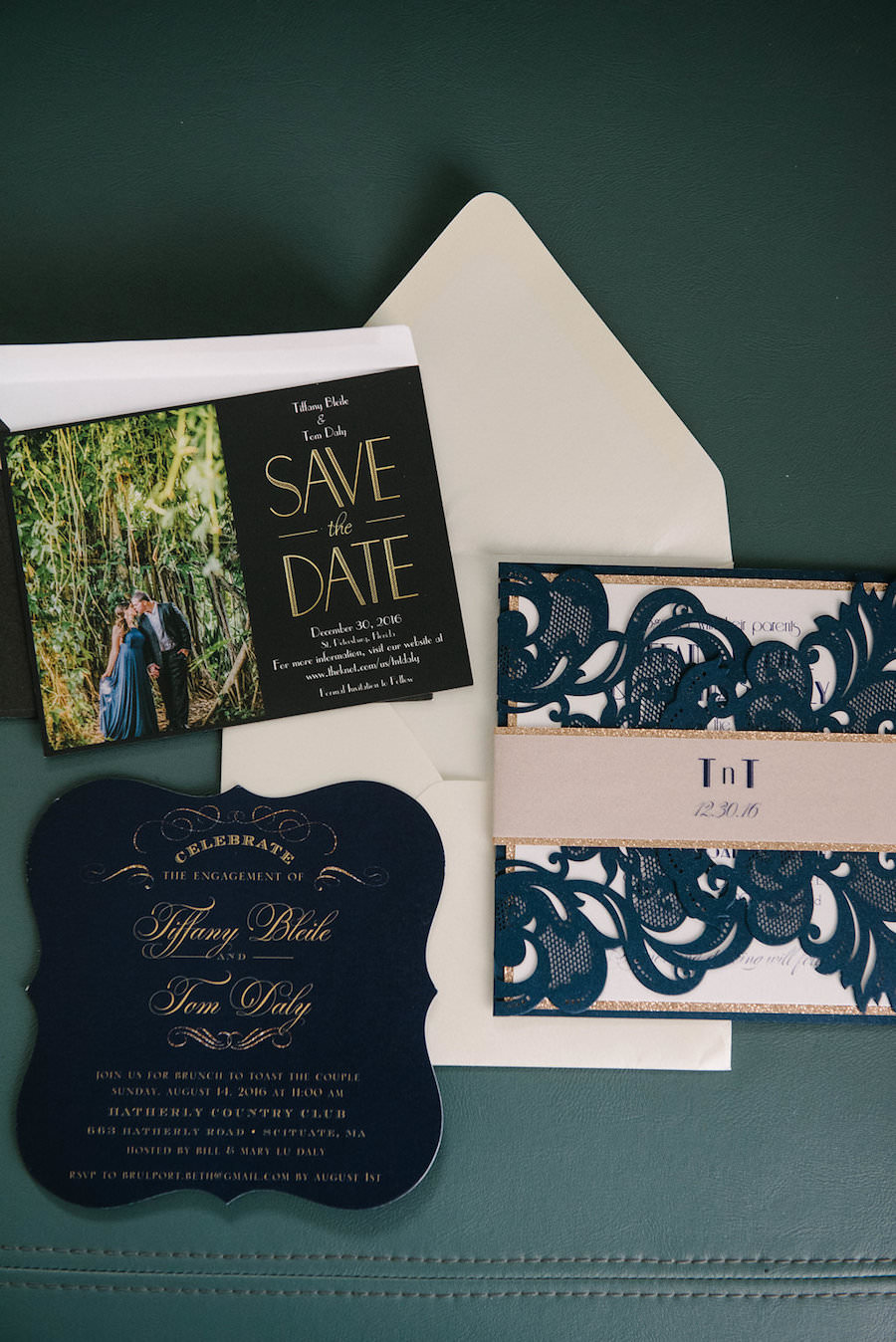 Navy Blue and Gold Wedding Invitation Suite   Tampa Bay Wedding Photographer Jonathan Fanning Studio and Gallery