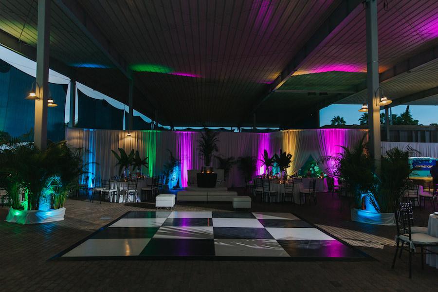 Black and White Dance Floor with Multi-Color Up Lighting | Sarasota Wedding Reception Venue Mote Marine Labaratory and Aquarium | Sarasota Wedding Planner Jennifer Matteo Event Planning