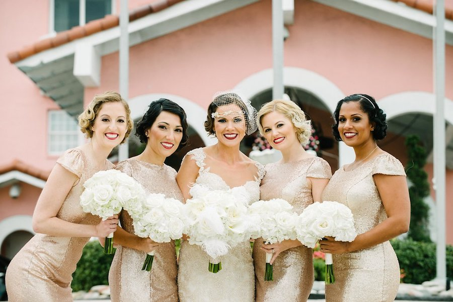 St. Pete Beach Bride in Ivory Lace Martina Liana Gown with Bridesmaids in Gold Sequin Dresses Wedding Portrait   St. Petersburg Wedding Venue The Don CeSar   Tampa Bay Wedding Photographer Jonathan Fanning Studio and Gallery