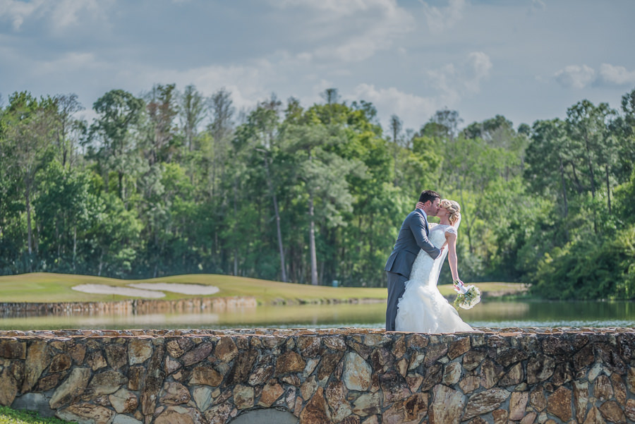 Outdoor Golf Course Bride and Groom Wedding Portrait | Oldsmar Wedding Venue East Lake Woodlands Country Club