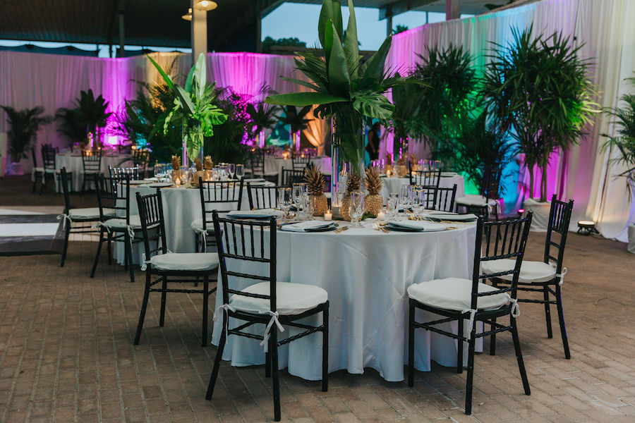 Green and Gold Pineapple Wedding Centerpieces | Sarasota Wedding Reception Venue Mote Marine Laboratory and Aquarium | Sarasota Wedding Planner Jennifer Matteo Event Planning