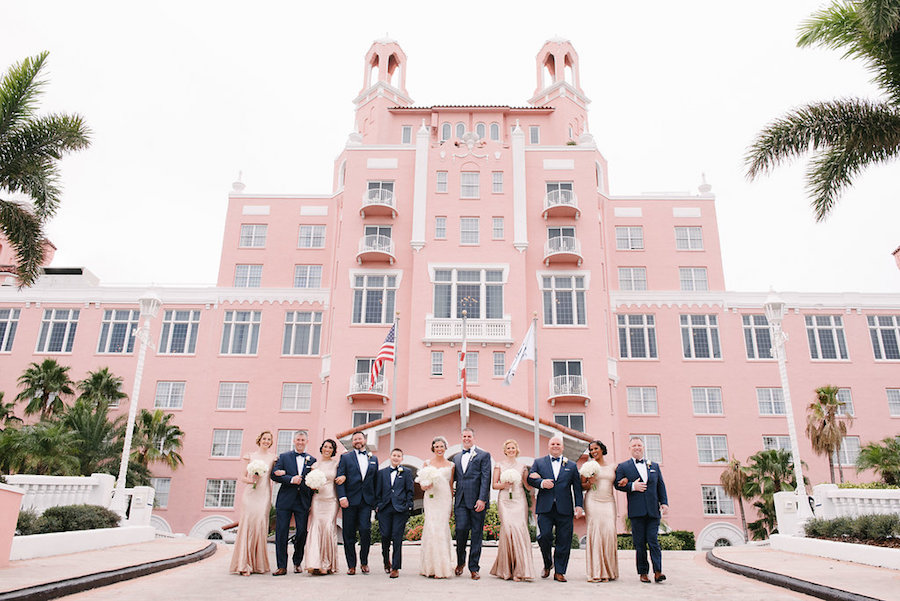 St. Pete Beach Bridal Party Wedding Portrait at The Don CeSar   Tampa Bay Wedding Photographer Jonathan Fanning Studio and Gallery