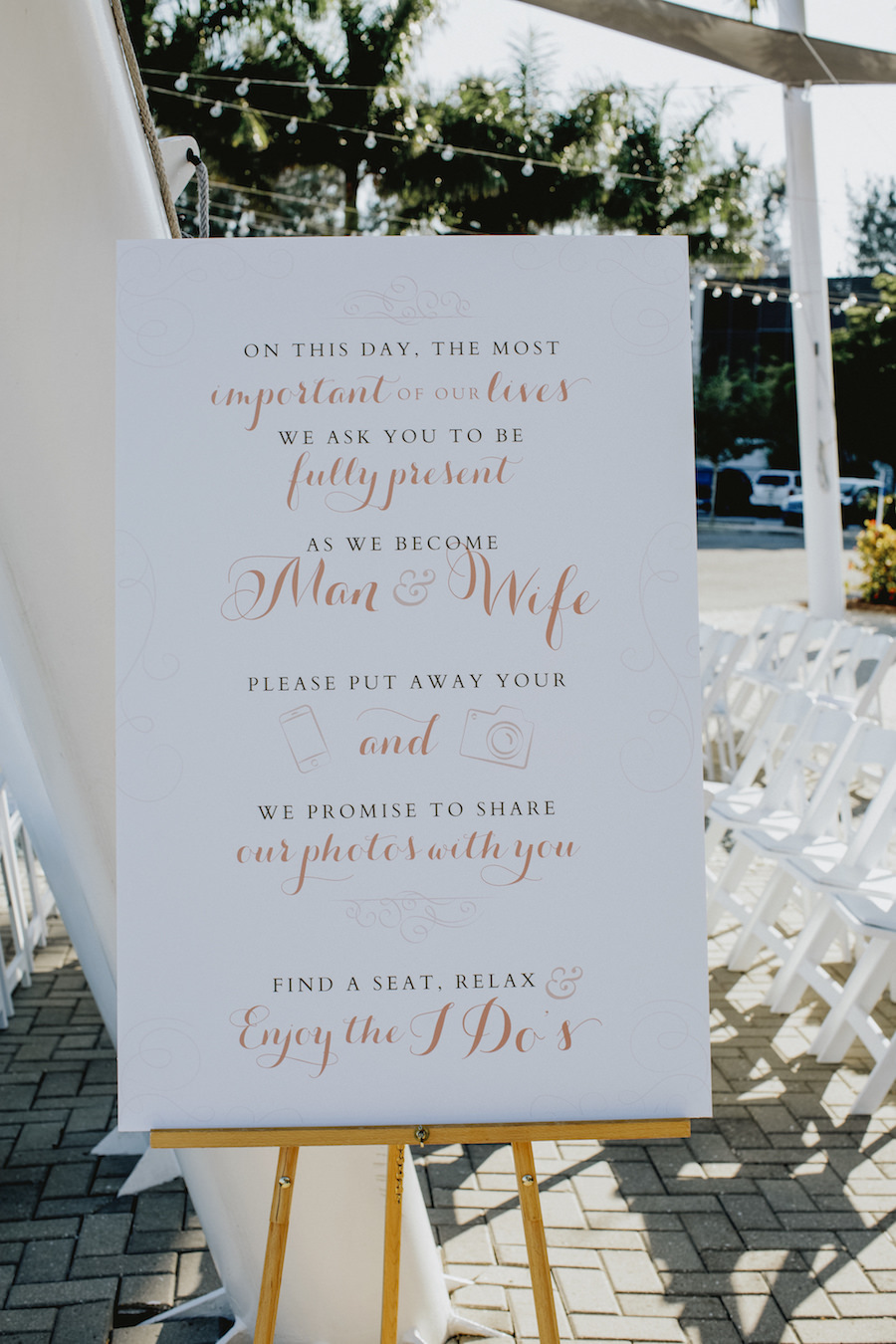 White Wedding Reception Welcome Sign with Peach Calligraphy   Wedding Venue Sarasota Yacht Club   Tampa Bay Wedding Planner NK Productions