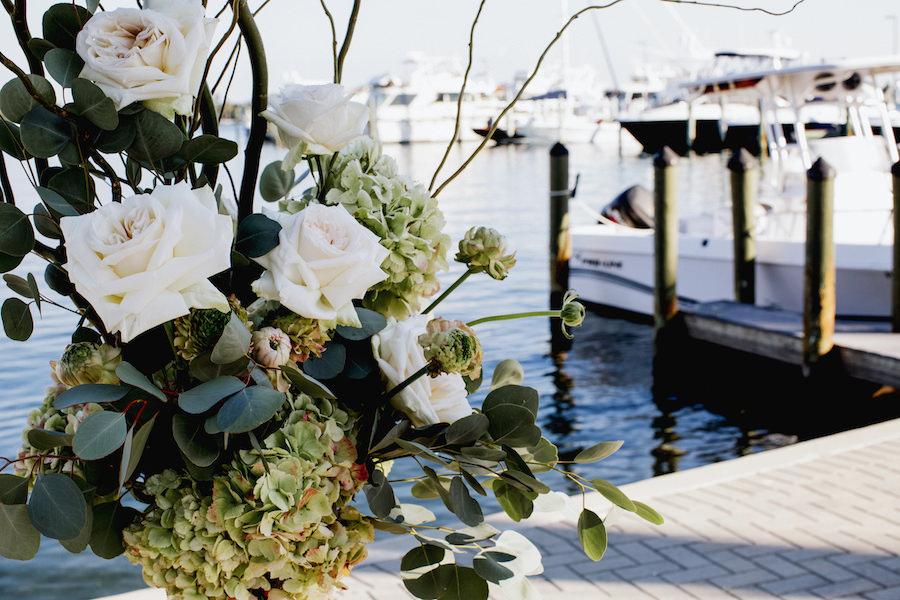 Wedding Ceremony Decor with Blush Roses and Green Hydrangeas   Wedding Venue Sarasota Yacht Club   Tampa Bay Wedding Planner NK Productions