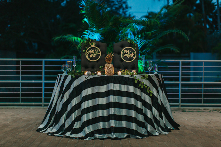 Black White Gold and Green Sweetheart Table with Pineapple and Mr. and Mrs. Sign Accents | Sarasota Wedding Planner Jennifer Matteo Event Planning