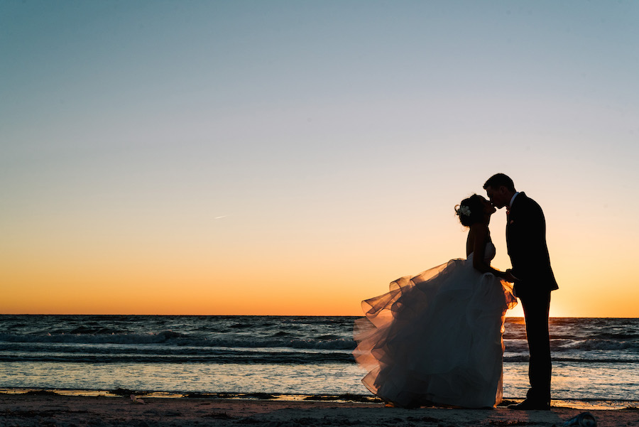 Clearwater Beach Waterfront Bride and Groom Wedding Portrait | Tampa Bay Wedding Venue Hilton Clearwater Beach