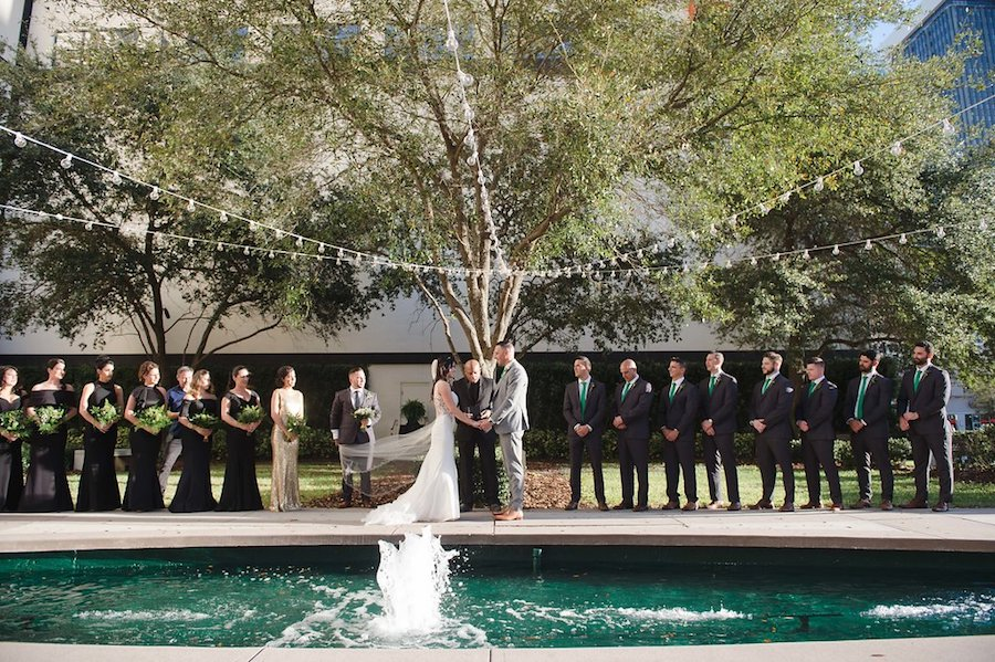 Outdoor Downtown Tampa Wedding Ceremony Portrait | Tampa Bay Wedding Venue The Vault | Wedding Photographer Marc Edwards Photographs
