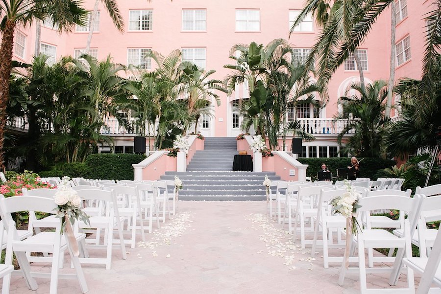 White St. Pete Beach Outdoor Wedding Ceremony   Ivory and Gold Vintage Wedding Ceremony Welcome Sign with F. Scott Fitzgerald Quote on Vintage Typewriter   St. Petersburg Wedding Venue The Don CeSar