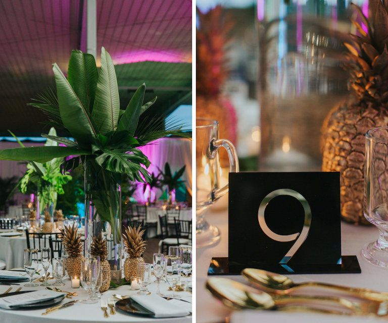 Green Palm Tree and Gold Pineapple Centerpieces with Black Modern Cutout Table Numbers | Art Deco Wedding Decor and Inspiration | Sarasota Wedding Planner Jennifer Matteo Event Planning