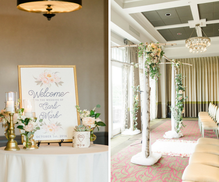 Blush, Ivory and Gold Wedding Ceremony Ideas and Inspiration with Ivory and Blush Floral Welcome Sign and White Birch Arch with Blush and Ivory Flowers and Greenery | St. Petersburg Wedding Venue The Birchwood | Tampa Bay Wedding Photographer Ailyn La Torre Photography