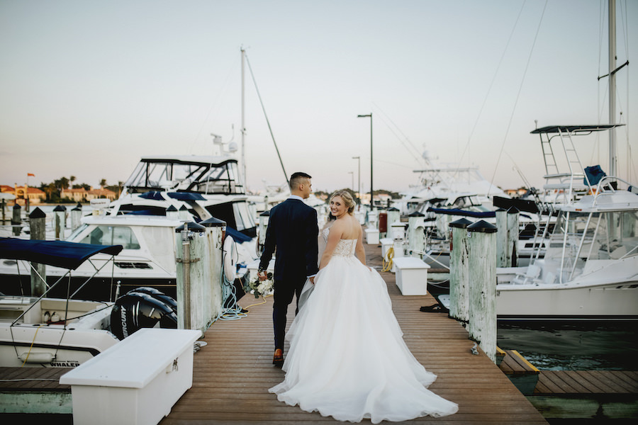 Outdoor Sarasota Bride and Groom Wedding Portrait with Bride in Lace and Tulle Reem Acra Ballgown | Bridal Boutique Blush Bridal Sarasota | Wedding Venue Sarasota Yacht Club | Tampa Bay Wedding Planner NK Productions