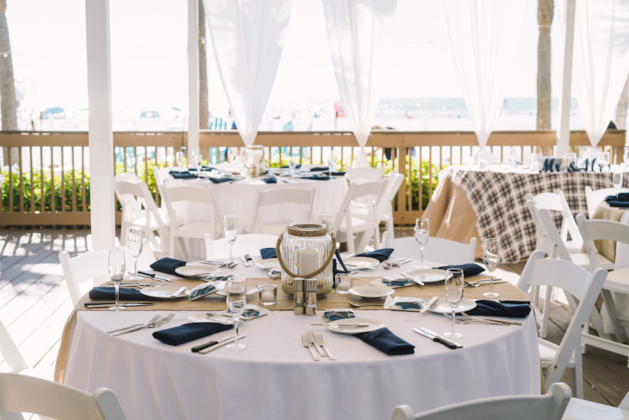 White Burlap And Navy Blue Wedding Reception Decor And