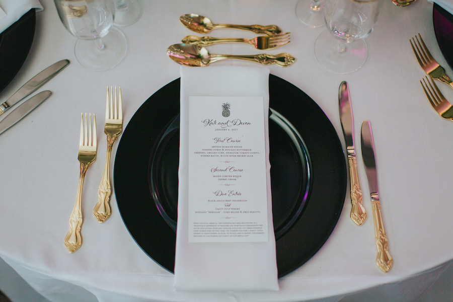 Gold Black and White Table Setting with Black Charger Plate and White Menu with Black Lettering | Wedding Reception Decor and Inspiration | Sarasota Wedding Planner Jennifer Matteo Event Planning