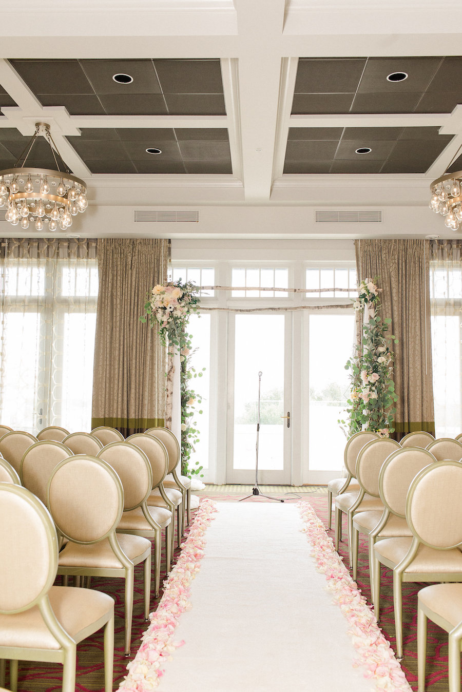 Ivory, Blush and Gold Wedding Ceremony Ideas and Inspiration with Blush Rose Petals and Arch with Ivory and Blush Florals with Gold Banquet Chairs   St. Petersburg Wedding Venue The Birchwood   Tampa Bay Wedding Photographer Ailyn La Torre Photography