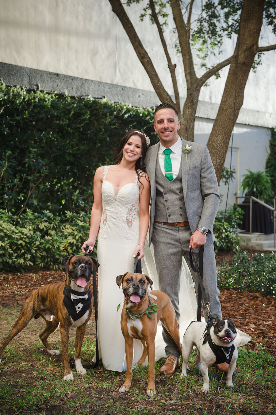 Bride and Groom with Dogs in Tuxedo/Pets Wedding Portrait | Tampa Bay Wedding Photographer Marc Edwards Photographs