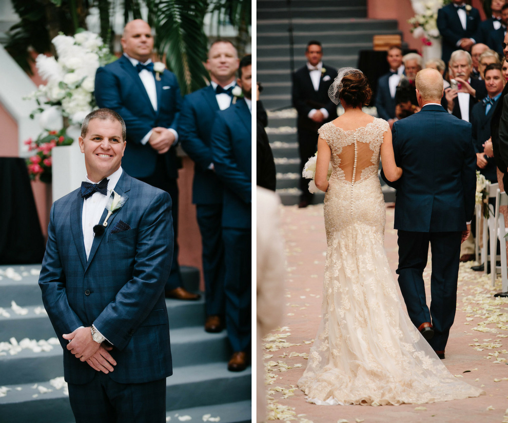 Outdoor St. Pete Beach Wedding Ceremony with Groom Watching Bride Walk Down the Aisle   St. Petersburg Wedding Venue The Don CeSar   Tampa Bay Wedding Photographer Jonathan Fanning Studio and Gallery