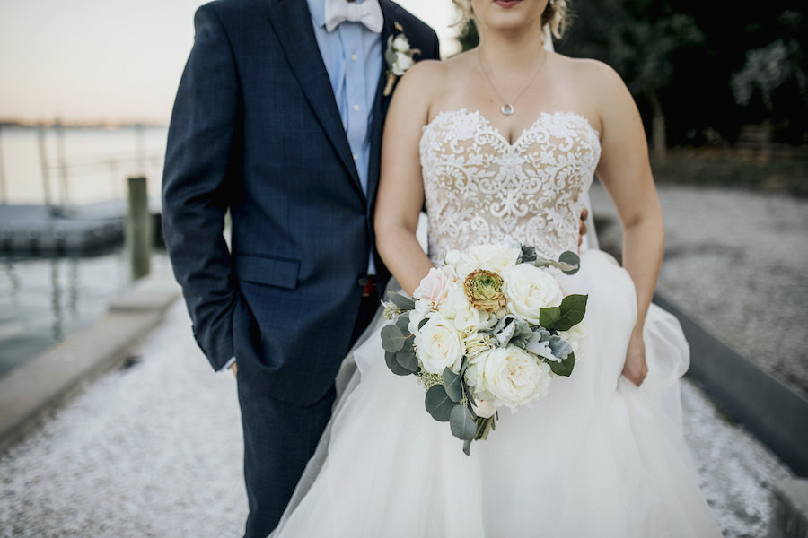 Outdoor Sarasota Bride and Groom Wedding Portrait with Bride in Lace and Tulle Reem Acra Ballgown   Bridal Boutique Blush Bridal Sarasota   Wedding Venue Sarasota Yacht Club   Tampa Bay Wedding Planner NK Productions