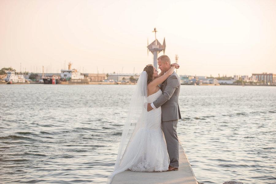 Tampa Bay Bride and Groom Waterfront Wedding Portrait | St Petersburg Wedding Photographer Kristen Marie Photography